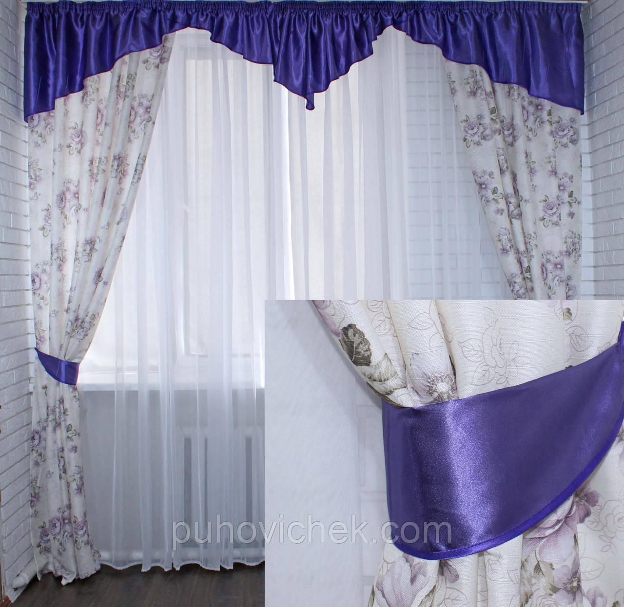 Готовые шторы с рисунком и ламбрекен