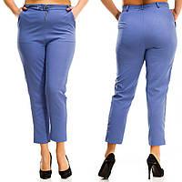 Женские стильные укороченные прямые брюки Батал, фото 1
