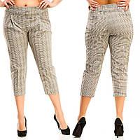 Женские стильные укороченные прямые брюки в клетку. Батал, фото 1