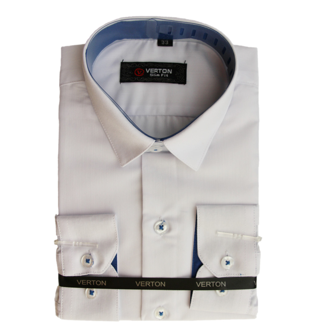Рубашка для мальчика Verton  длинный рукав приталенная белая с голубой отделкой