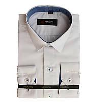 Рубашка для мальчика приталенная белая с голубой отделкой длинный рукав Verton