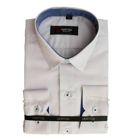 Рубашка для мальчика приталенная белая с голубой отделкой длинный рукав Verton, фото 2