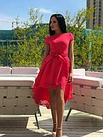 К205/1 Платье ассиметрия с перфорацией в расцветках( размеры 42-50)