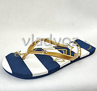 Женские сланцы вьетнамки шлепанцы пляжные золото 38р.