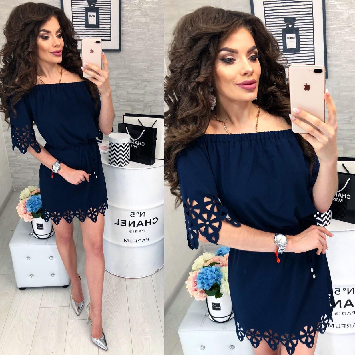Новинка 2018! Платье летнее с выбитым рисунком, модель 105, синее