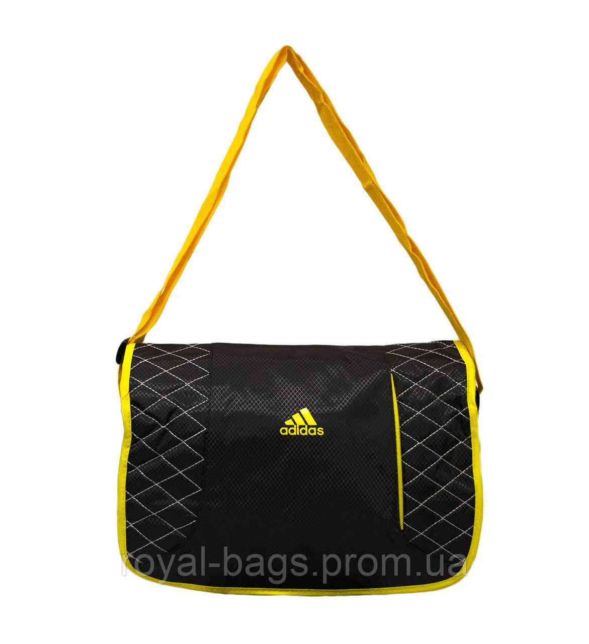 Сумка через плечо Adidas серая с желтым