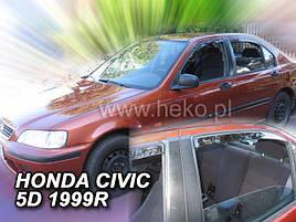 Дефлекторы окон (ветровики) Honda Civic 4d 4шт 1995-2001 htb (Heko)