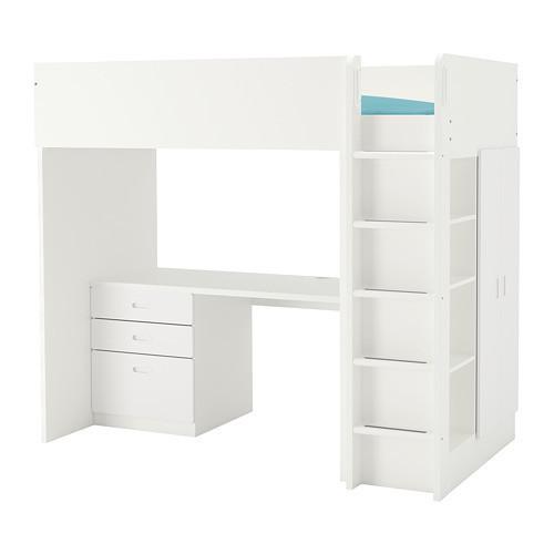 Кровать на мезонине IKEA STUVA / FRITIDS 207x99x182 см белый 792.532.59