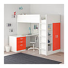 Кровать на мезонине IKEA STUVA / FRITIDS 207x99x182 см белый красный 792.579.31, фото 2
