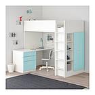 Кровать на мезонине IKEA STUVA / FRITIDS 207x99x182 см белый голубой  992.619.94, фото 3