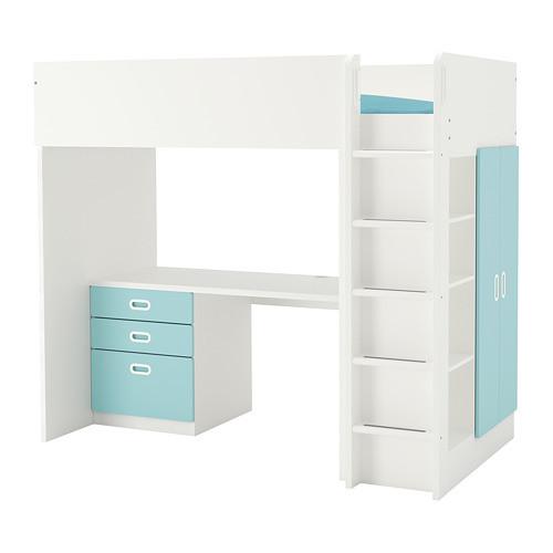 Кровать на мезонине IKEA STUVA / FRITIDS 207x99x182 см белый голубой  992.619.94