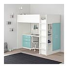 Кровать на мезонине IKEA STUVA / FRITIDS 207x99x182 см белый голубой  992.619.94, фото 2