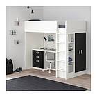 Кровать на мезонине IKEA STUVA / FRITIDS 207x99x182 см белый черный 192.677.49, фото 2