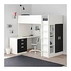 Кровать на мезонине IKEA STUVA / FRITIDS 207x99x182 см белый черный 192.677.49, фото 3