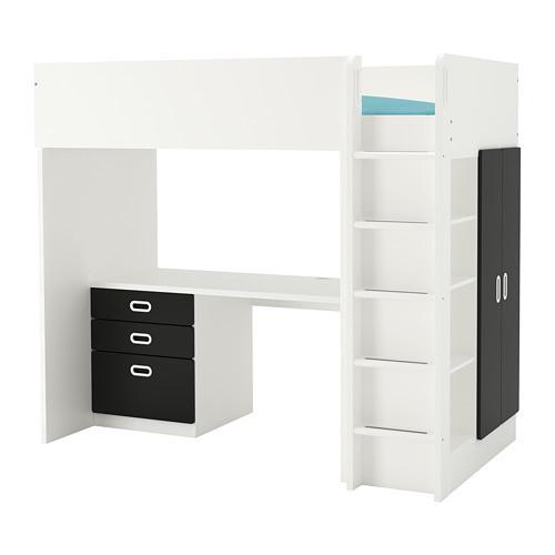 Кровать на мезонине IKEA STUVA / FRITIDS 207x99x182 см белый черный 192.677.49