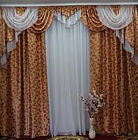 Массивный ламбрекен со шторами для большой комнаты, фото 1
