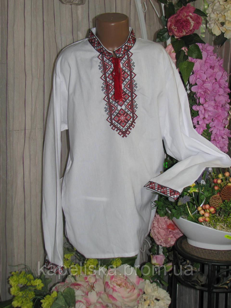 Вишиванка для хлопчика з червоною вишивкою Льон 152