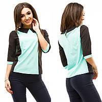 Женская стильная блуза с контрастным  воротничком и рукавами