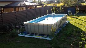 Каркасный прямоугольный бассейн Intex 28364 (732*366*132 см) + песочный фильтр, Б/У