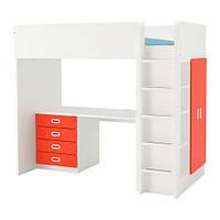 Кровать на мезонине IKEA STUVA / FRITIDS 207x99x182 см белый красный 792.621.74