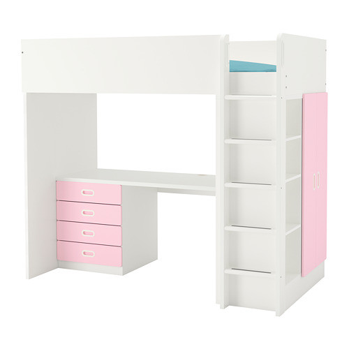 Кровать на мезонине IKEA STUVA / FRITIDS 207x99x182 см белый розовый 492.686.53