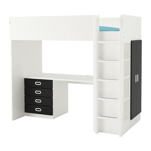 Кровать на мезонине IKEA STUVA / FRITIDS 207x99x182 см белый черный 592.687.23