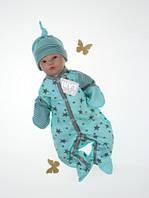 """Комбинезон с шапочкой """"Звездопад"""" для новорожденных деток. Мятный. Размер 56, фото 1"""