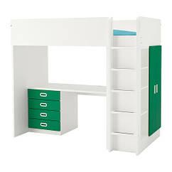 Кровать на мезонине IKEA STUVA / FRITIDS 207x99x182 см белый зеленый 892.687.12