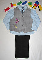 Костюм нарядный, школьная форма Arrow, оригинал рост 116 см голубой+черный+серый 07032