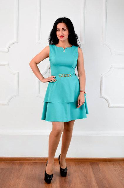 Бирюзовое короткое летнее платье (размер 44-50)