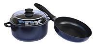 Набор посуды Индиго БИОЛ И26ПС (260 / 5 л) сковорода+кастрюля со стеклянной крышкой