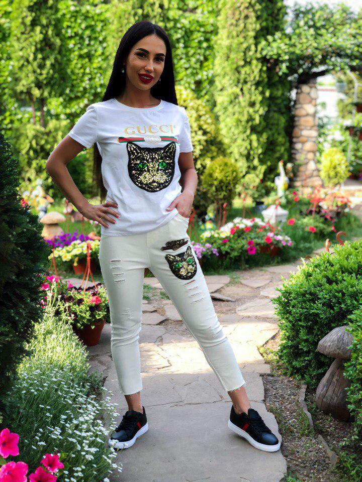 Женские брюки модные в стиле Гуччи реплика