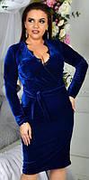 Платье женское бархатное батал  гул817, фото 1