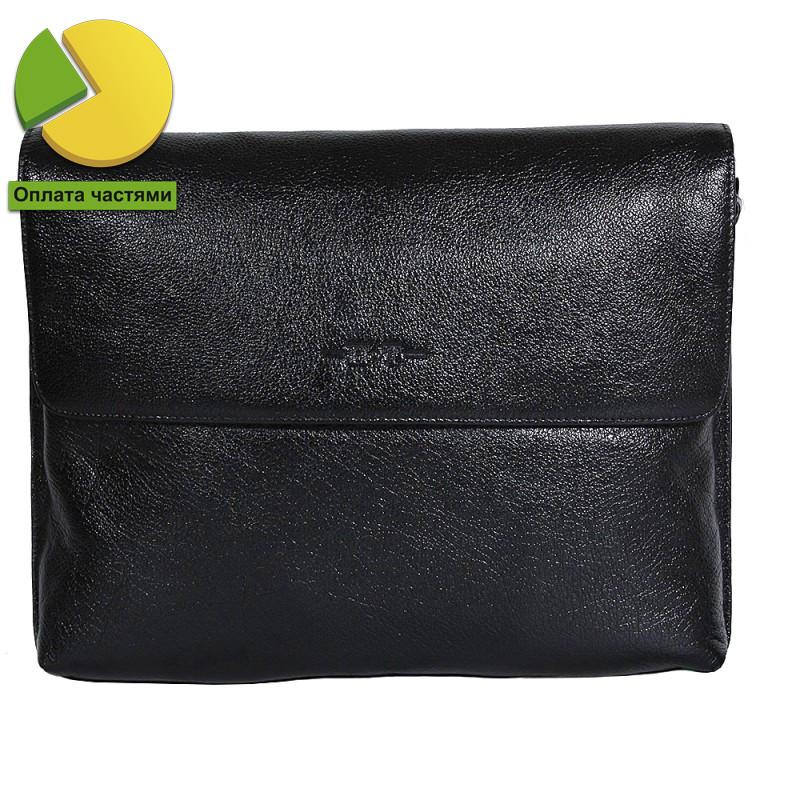 417f948f67a2 Деловая мужская кожаная сумка горизонтальная формата А4 черная High Touch  HT007822-21