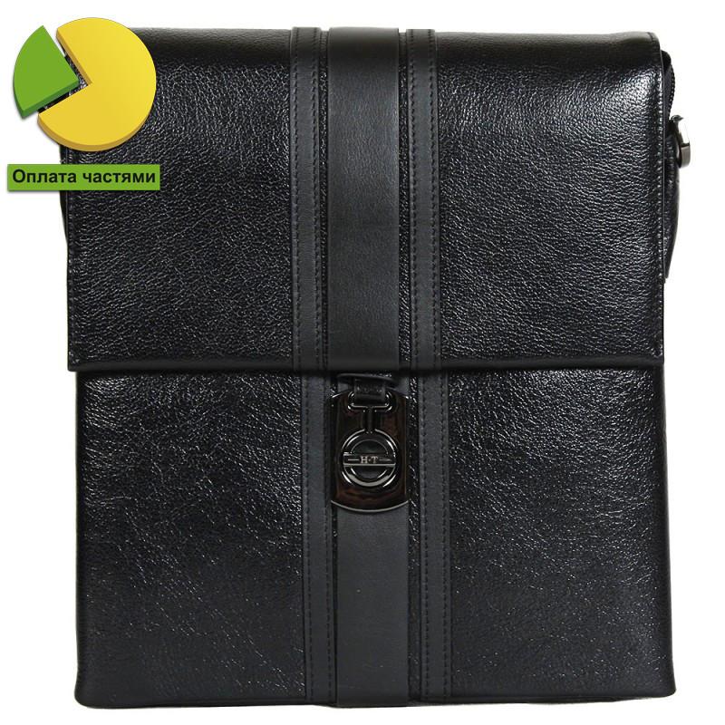 Деловая мужская кожаная сумка формата А5 черная High Touch HT007845-41
