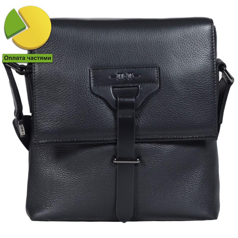 Качественная мужская кожаная сумка формата А5 черная High Touch HT0078