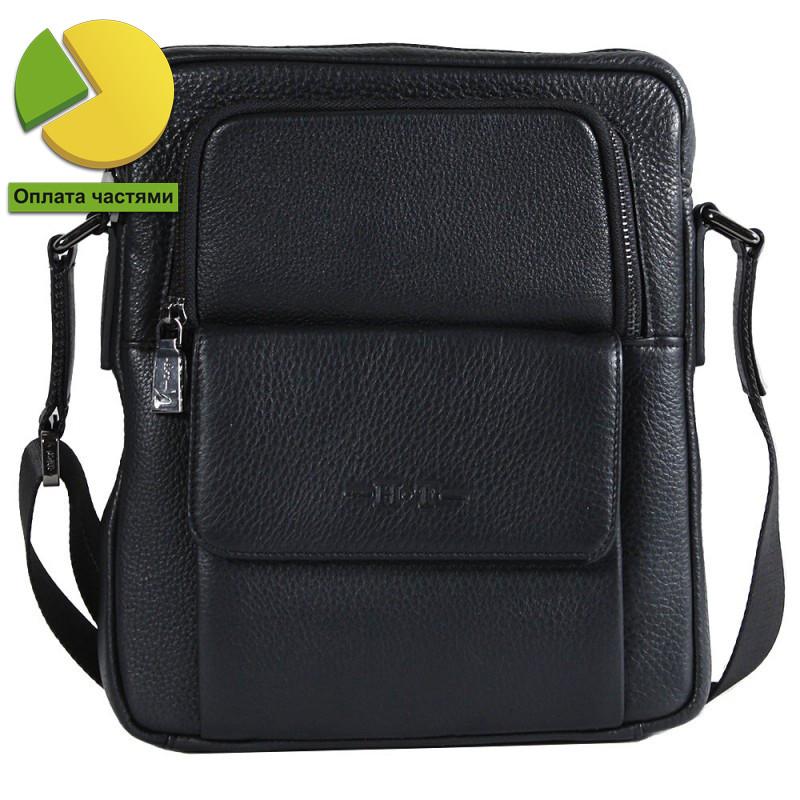 Оригинальная мужская сумка из первоклассной натуральной кожи черная High Touch HT007892-41