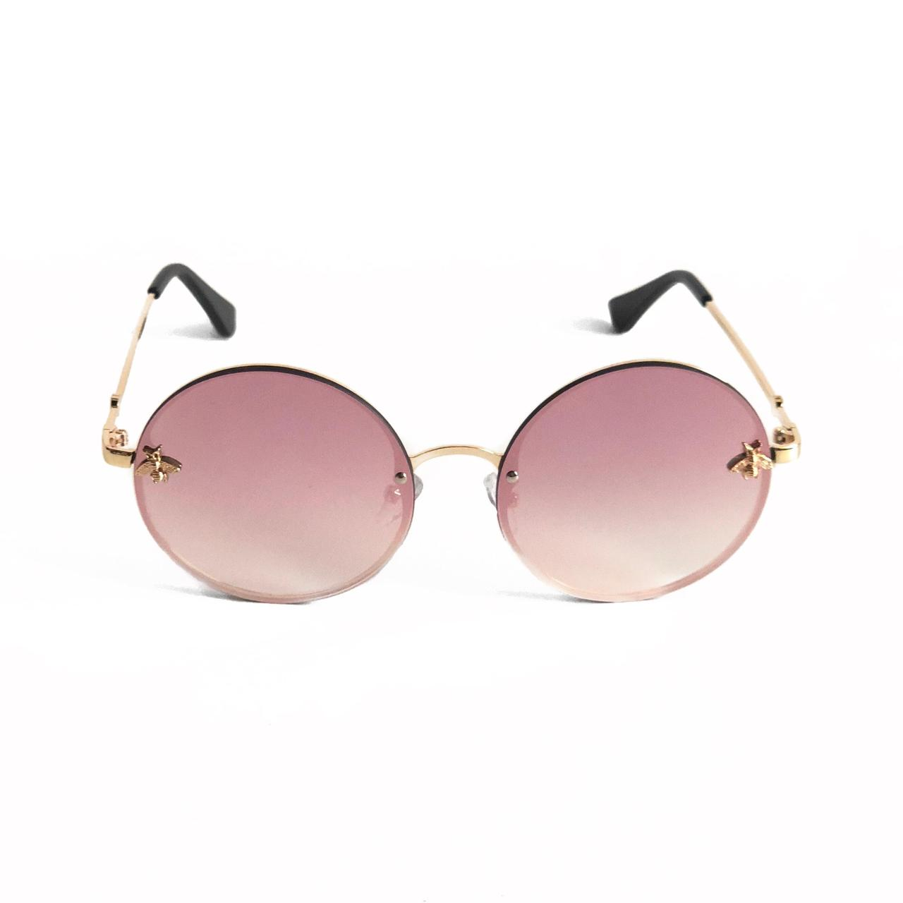 Женские круглые солнцезащитные очки с розовой зеркальной линзой