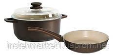 Набор посуды Мокко БИОЛ М22ПС (220 / 3 л) сковорода+кастрюля со стеклянной крышкой