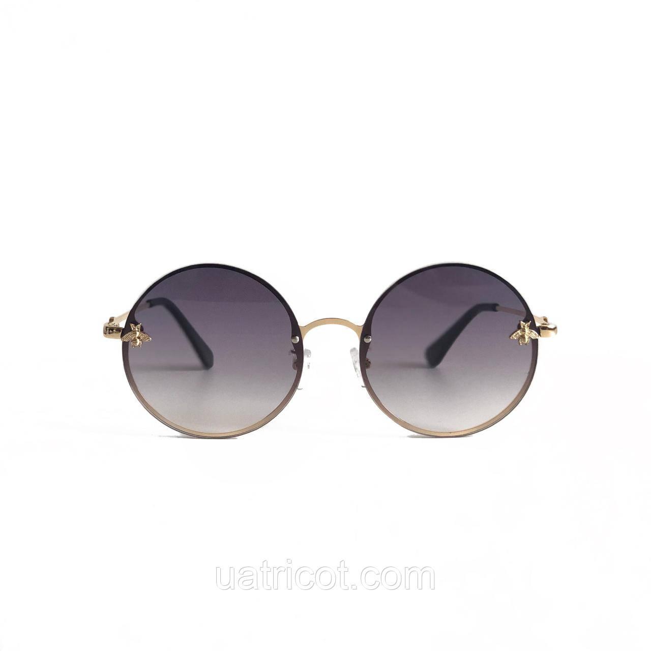 Женские круглые солнцезащитные очки с графитовой линзой