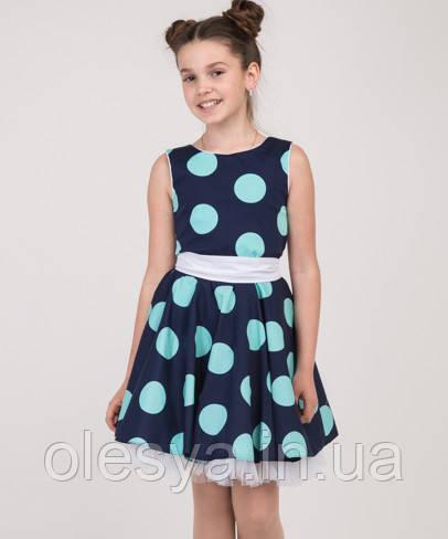 Летнее платье для девочки в горох Размер 134
