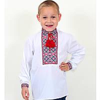 Белая вышиванка для мальчика Грицько вышивка красно-черная, фото 1