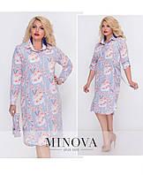 Платье–рубашка на пуговицах с длинными рукавами ТМ Минова  р.50-56