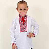 Вышитая рубашка для мальчика Грицько вышивка красно-бордовая