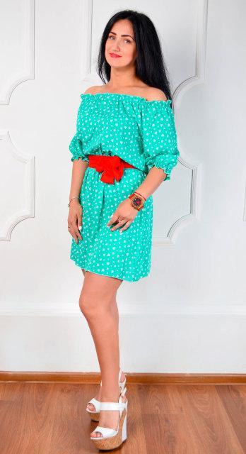 d46a317f7e2 Летнее Короткое Платье Из Паплина со Съемным Поясом — в Категории ...