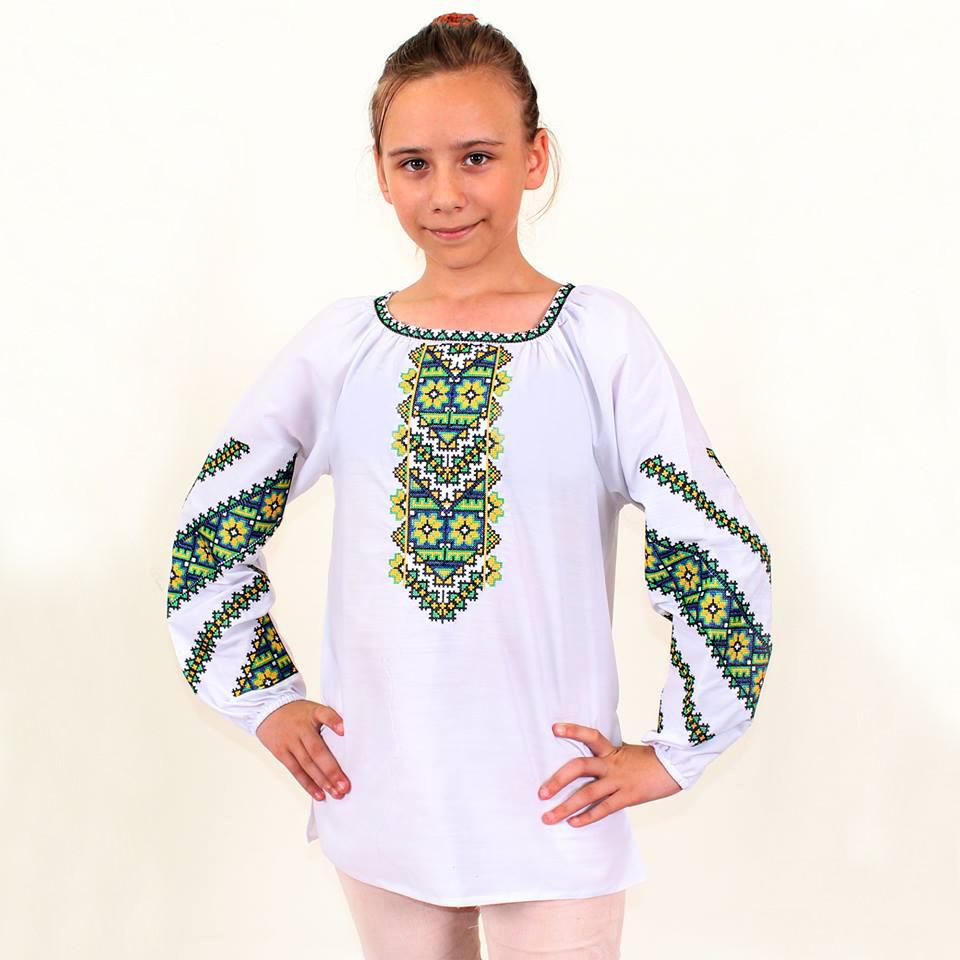Вышиванка для девочки Юлия с желто-зеленым геометрическим орнаментом