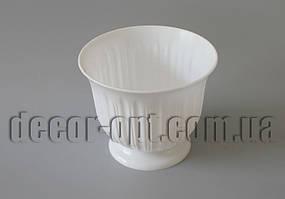 Пластиковый горшок белый на ножке Лилия Ø19х16см