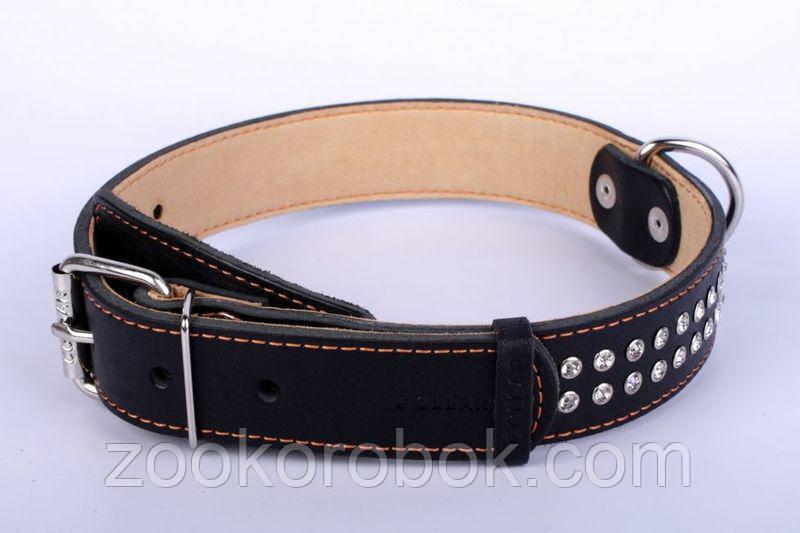 Ошейник для собак COLLAR двойной со стразами, ширина 25мм, длина 38-50см, 70781 чёрный