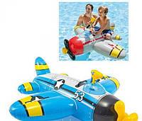 Плотик-самолет со встроенным водяным оружием (57537) 132*130 см, Надувной детскитй плотик, Плот для купания