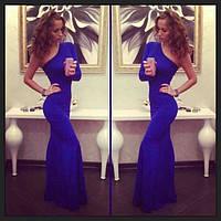 Платье синее длинное с одним рукавом,